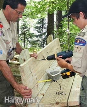 How to Build a Campfire Bench   Simple, sturdy bench that'll last a long, long time Read more: http://www.familyhandyman.com/garden-structures/how-to-build-a-campfire-bench/view-all