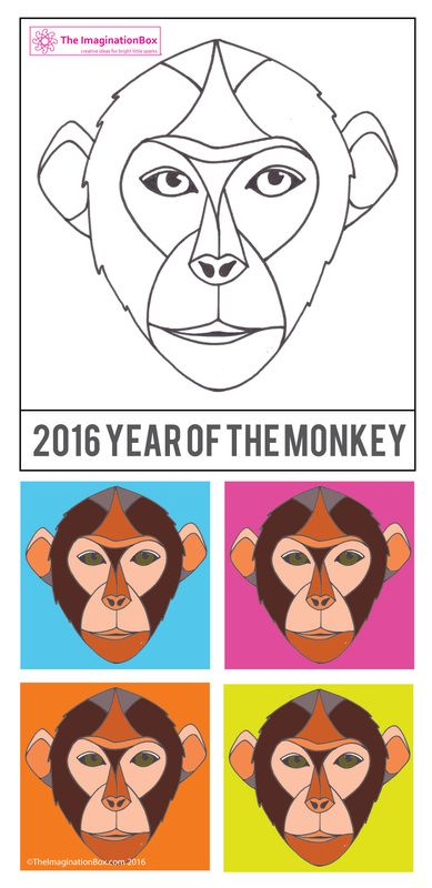 The ImaginationBox:  Year of the Monkey, Chinese New Year 2016, free template to use for doodling and mask making