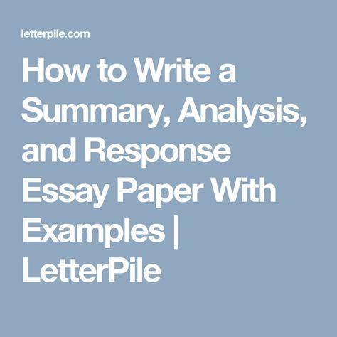 essay summary response