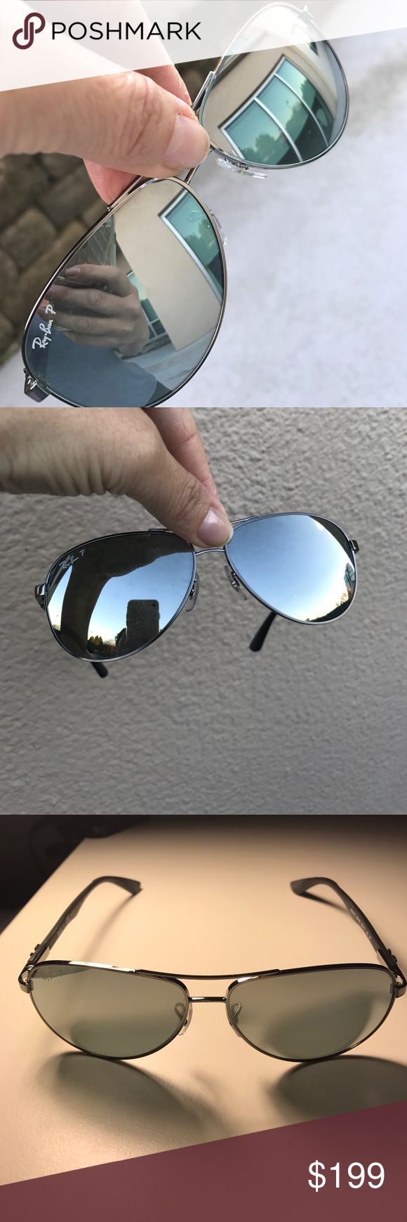 Ray Ban Polarized Aviators RB8313 Gunmetal, Carbon Fibre, Polarized Silver Mirror. Lens size 58 -13, Temple Length 140. Great condition, worn only a few times. A few dot like scratches(hardly noticeable-see pic). Comes with original box, case & paperwork. Ray-Ban Accessories Sunglasses