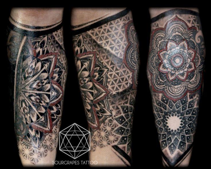 Mandala Dotwork Leg Sleeve Tattoo