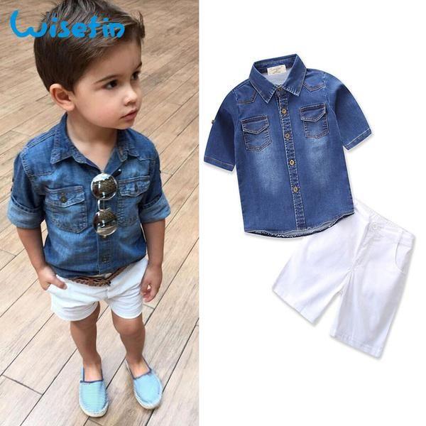 UK Toddler Kids Boys Casual Clothes  T-Shirt Tops+Denim Jeans Pants Outfits Set