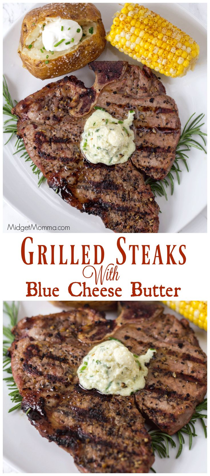 Grilled Steaks with AMAZING Blue Cheese Butter! You are going to want to skip the steak sauce with this one and just enjoy the amazing flavor of the juicy steak paired with the blue cheese butter. Perfect for you summer grilling!