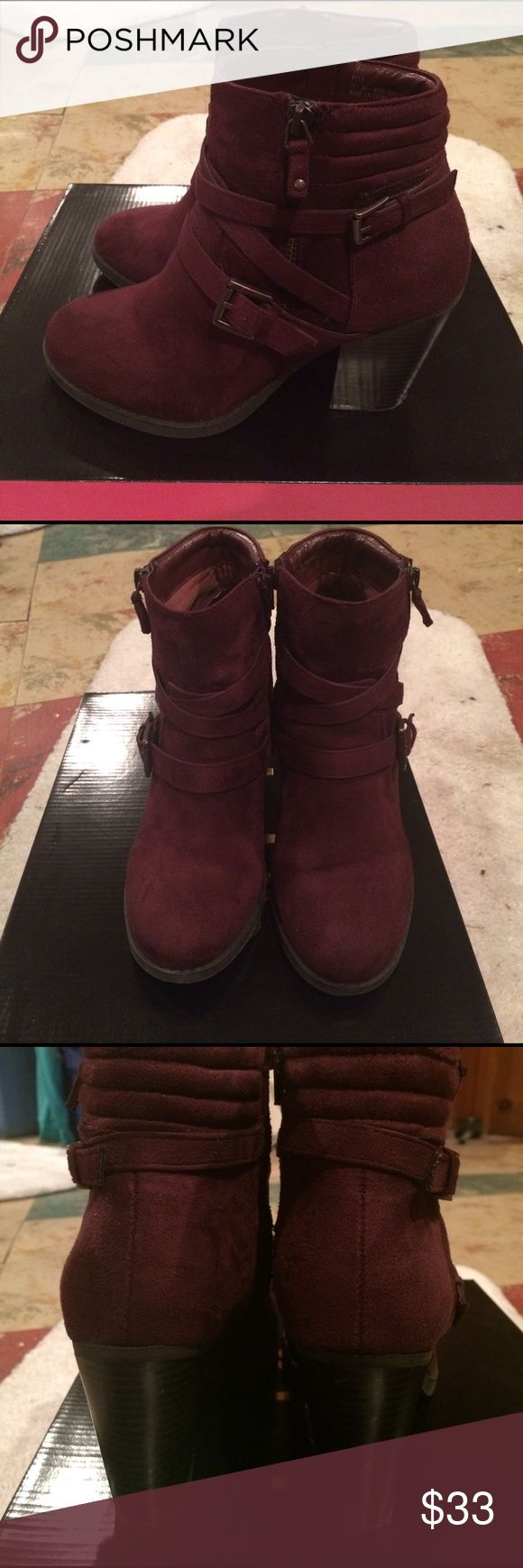 Chunky ankle boots Burgundy chunky ankle boots. Style-elle. Worn once. Excellent condition. Heel size ~4in Charlotte Russe Shoes Ankle Boots & Booties