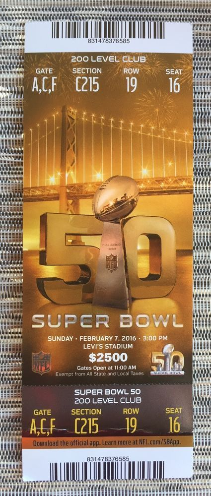 super bowl 50 ticket stub excellent condition #Broncos from $21.0