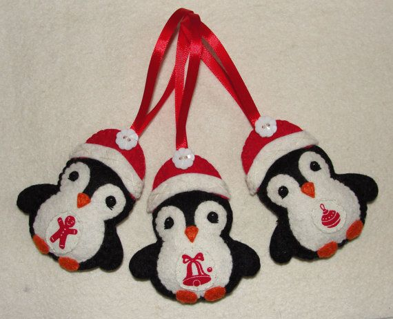 Cute Wool Felt Penguins Ornaments Penguin Ornament by NitaFelt