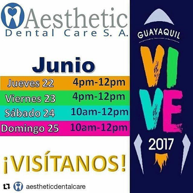 En @aestheticdentalcare  FERIA VIVE 2017 visitanos en el Stand de Aesthetic Dental Care en el Palacio de Cristal desde hoy hasta el domingo.  El evento será maravilloso, nuestras Ofertas únicas por feria y los Conciertos de lujo!! Para reservar tu Consulta de Diagnóstico SIN COSTO Llámanos 📍Teléfono 2681129. 📍Celular 0999225043 whatsapp.  Síguenos en nuestras redes Sociales 📍Facebook: Aesthetic Dental Care 📍Instagram: @AestheticDentalCare  En Aesthetic Dental Care Odontología de Calidad…
