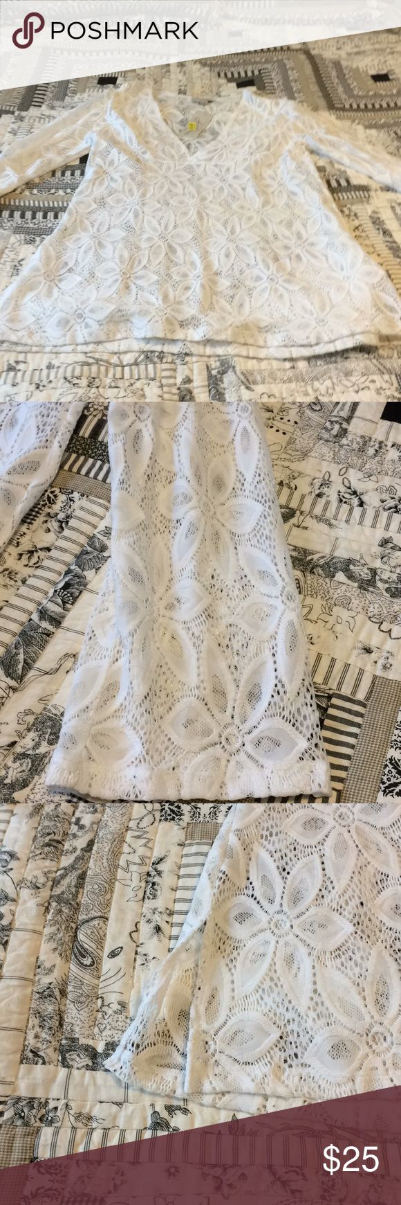 """XL white swimsuit cover-up XL size white lace swimsuit coverup. Bought at Dillards. Never worn.  Smoke free and pet free home  Measurements  35"""" long  22"""" armpit to armpit flat J Valdi Swim Coverups"""