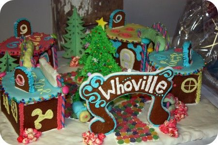 Whoville gingerbread house village, grinch