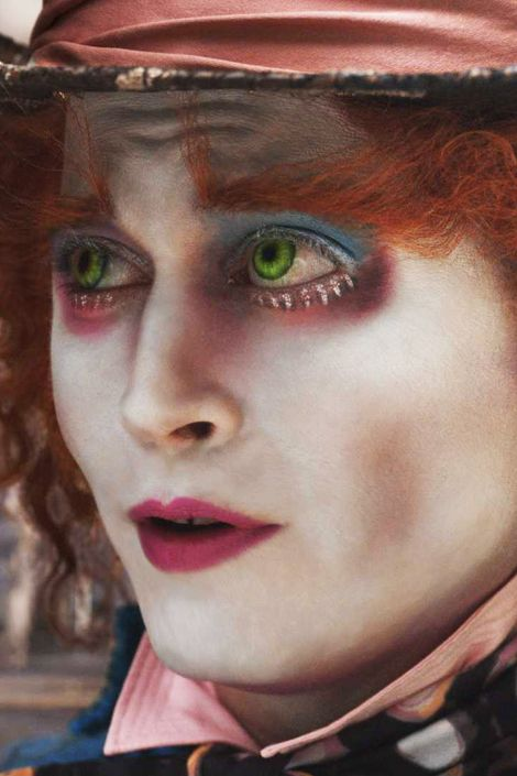 """Harlow also designed Depp's makeup as Mad Hatter in Burton's Alice in Wonderland. To complement Alice's troubled yet fun-loving friend, vivid colors were layered over Burton's usual whitened palette. """"In my experience as a makeup artist working with Tim, it is clear that his approach to makeup is to enhance not only the narrative but also the individual character,"""" says Harlow."""