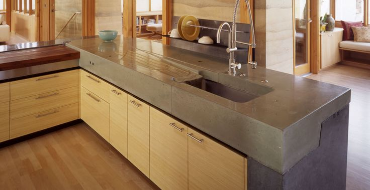 Meteor Vineyard Kitchen Concrete Countertop with Integral Drainboard by Fu-Tung Cheng, Cheng Design | CHENG Concrete Exchange