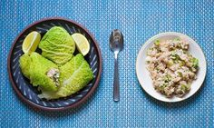 Jack Monroe's stuffed cabbage leaves. Photograph: Graeme Robertson for the Guardian