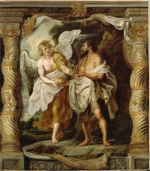 "Bible Angels: The Angel of the Lord Wakes Up Elijah: The painting ""The Prophet Elijah and the Angel"" by Peter Paul Rubens"