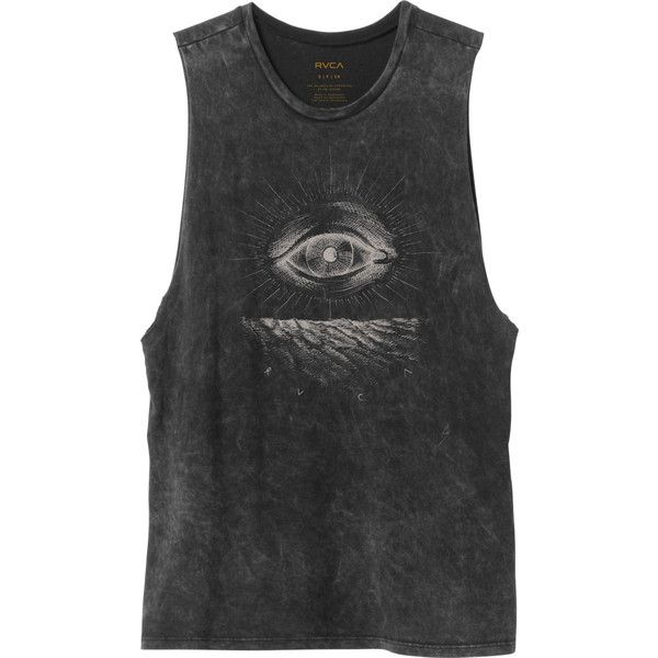 RVCA Women's  Eye See Muscle T-Shirt ($30) ❤ liked on Polyvore featuring tops, tanks, black, muscle tshirt, black top, rvca tops, rvca and muscle t shirts