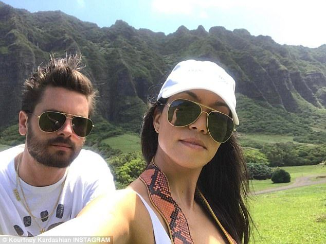Getaway: On Friday, Kourtney Kardashian posted a photo from their Hawaii vacation - while ...