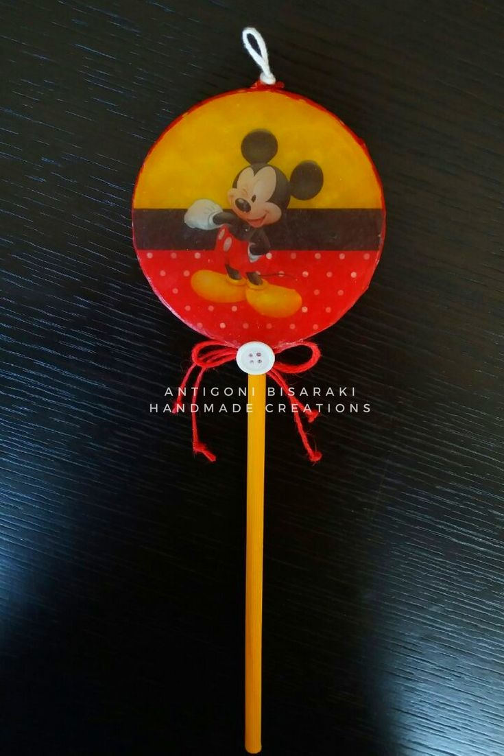 "Handmade Easter Candle  lollipop ""Μιckey Mouse"" #handmade #easter2017 #lollipop #mickeymouse #lampades #antigonibisarakihandmadecreations"