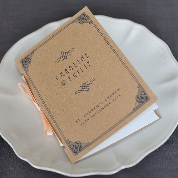 These gorgeous order of service wedding programs are inspired by vintage dance card booklets – they are adorably pocket-sized (A6, roughly 4x6)