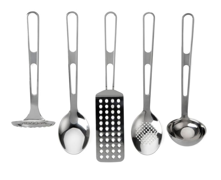 These stylish high quality stainless steel utensils will last a lifetime. The large hanging loops make them easy to store and ready to hand. 5 piece set: Masher, Spoon, Flipper, Slotted Spoon, Measuring Ladle. Robust stainless steel construction. Twin position hanging loops. Dishwasher safe.
