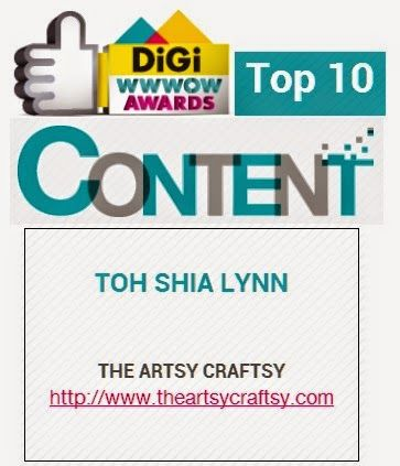 The Artsy Craftsy- Top 10 Finalist #DiGiWWWOWAwards 2014 Content Category