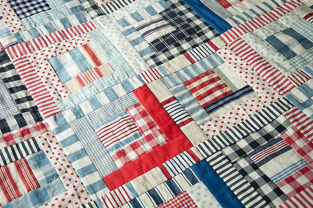 Plaids and stripes - A Log Cabin quilt with a 'Ralph Lauren' vibe. Crisp and clean.