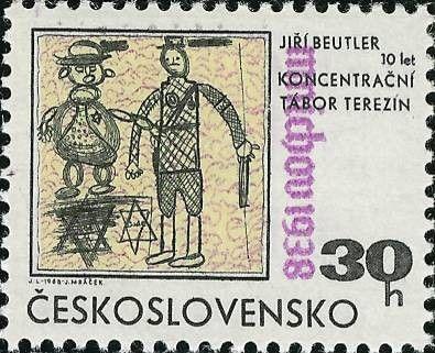 Stamp: Jew and Guard, by Jiri Beutler (Czechoslovakia) (Munich Agreement, 30th…