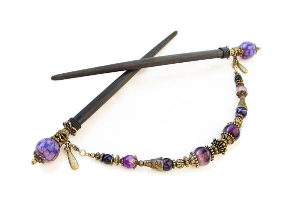 Set of 2 japanese wooden hair sticks with purple stripe agate