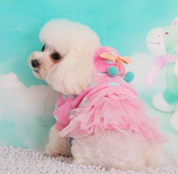Pet платье собак платье Pet одежда товары для животных собака одежда вишня узел, точки, Pet зима юбка