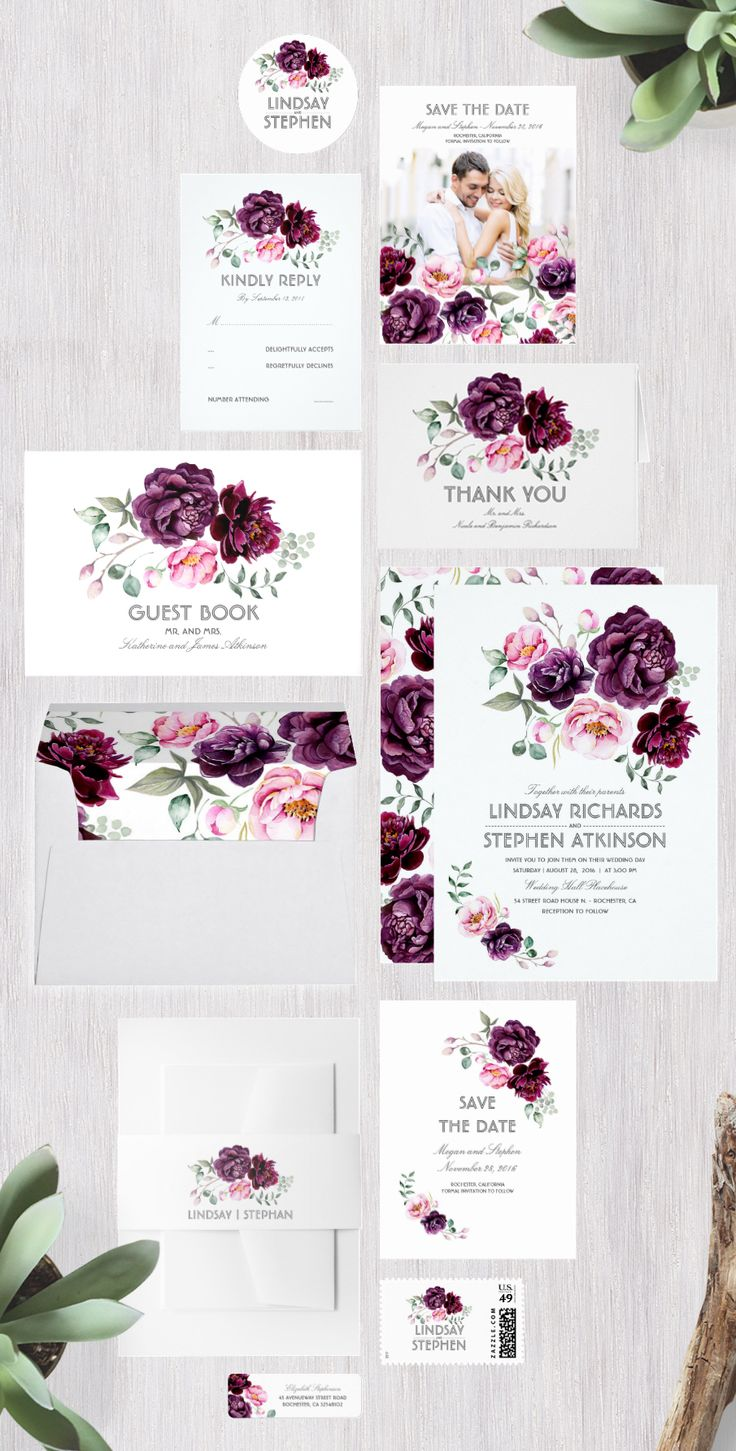 Plum/Dark Purple Floral Watercolor Wedding Invitation Set | Save the Date, RSVP Response Card, Postage Stamp, Sticker, Envelope, Return Address Label and more. | Plum, Red Plum, Beaujolais, Boysenberry, Raspberry Radiance, Sangria, WineBerry Wedding colors.