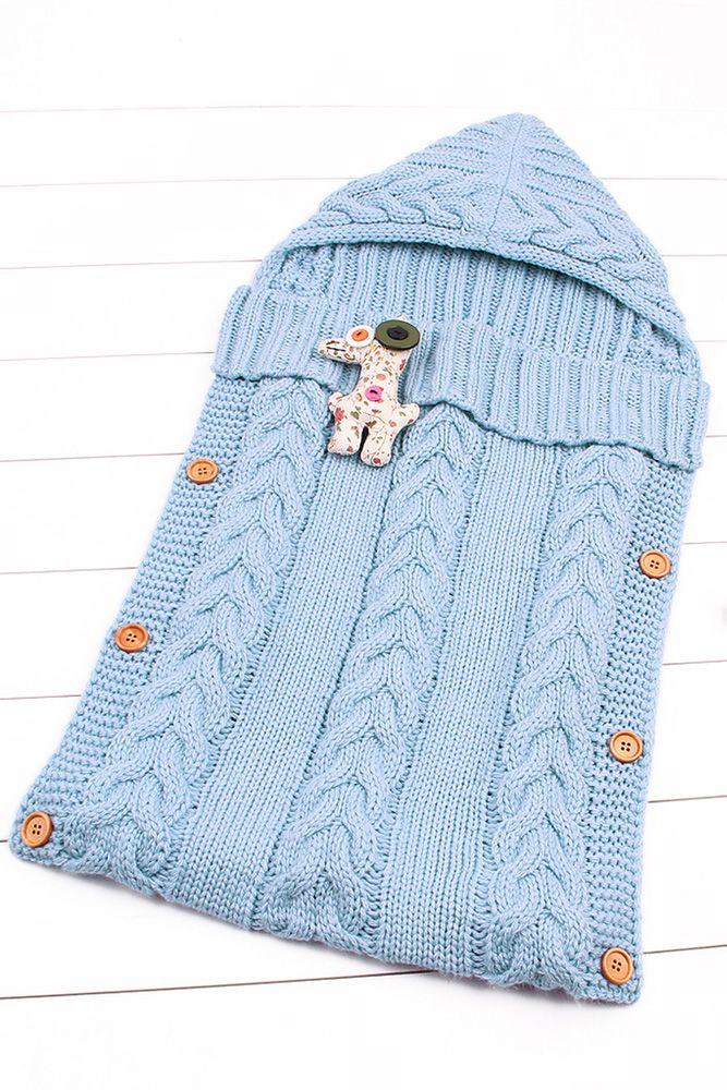 Light Blue Cable Blanket Unisex Knitted Baby In 2020