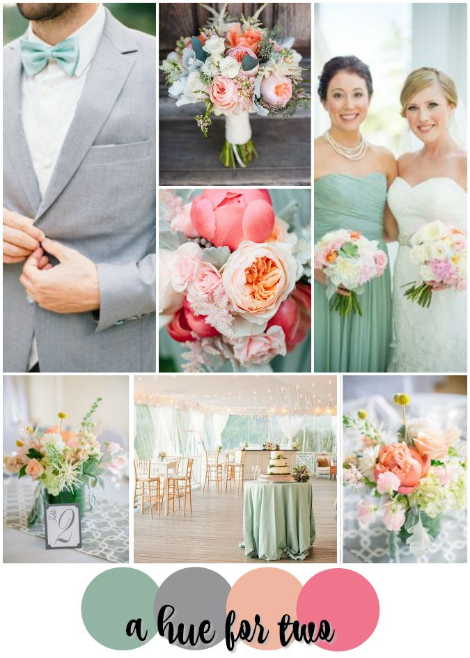Greyed Jade, Grey, Peach and Pink Wedding Colour Scheme - Elegant Weddings - Spring Weddings - Mint - Sage - Dusty Shale - A Hue For Two | www.ahuefortwo.com