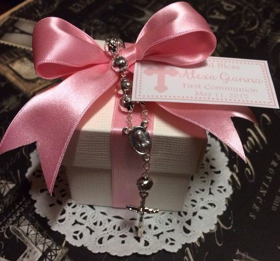 First Communion, Baptism, Confirmation or Christening Favor with 2x2 Italian Favor Box, Rosary, Candy Fill and Confetti Tag