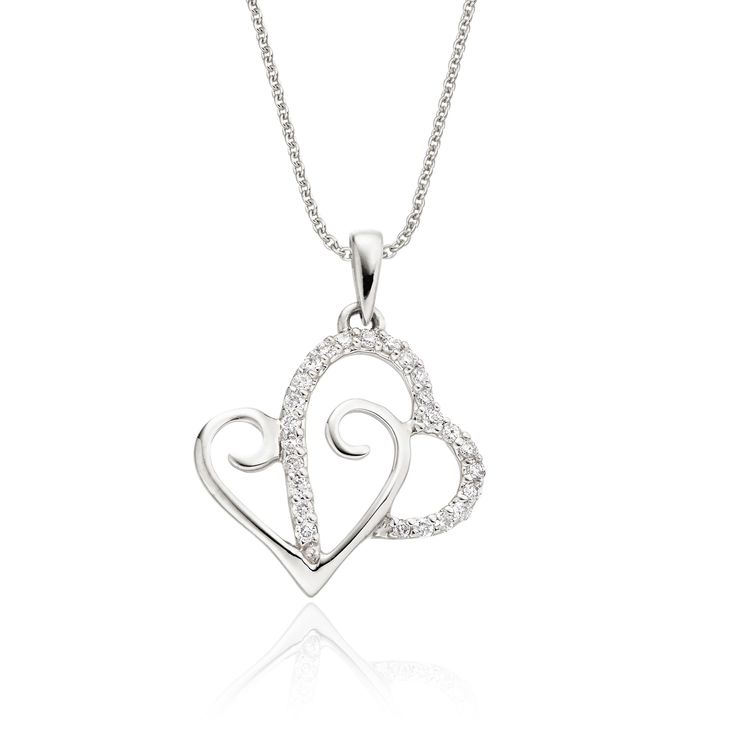 This elegant white gold diamond pendant has 0.12ct round diamonds. The pendant features two interlocking hearts with an elegant line of micro-set diamonds. This necklace is made in 9K white gold and is available complete with a beautiful mirror trace chain or if you already have a chain then you have the option to buy just the pendant.