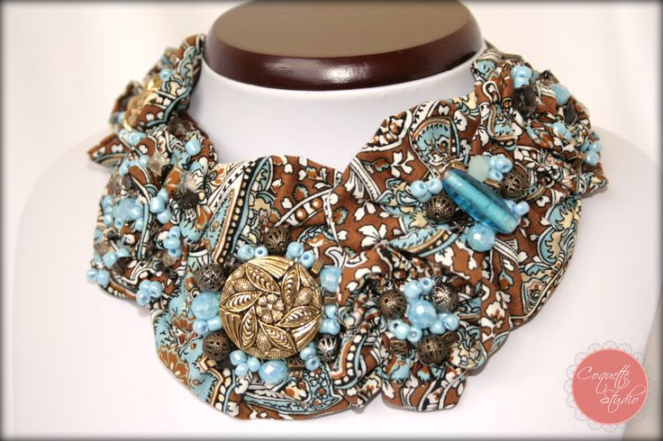 Blue Dream necklace, made of fabric, crystals, accessories made by Coquette Studio coquette_studio@yahoo.com