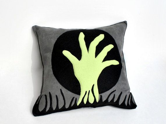 Zombie Hand Pillow Halloween Home Decor Ready by YellowBugBoutique, $37.00