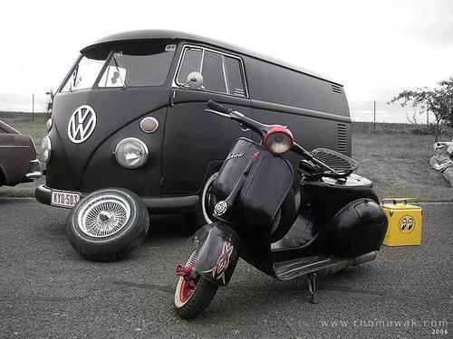 VESPA~BLK VESPA & VW WAGON panel n' scooter