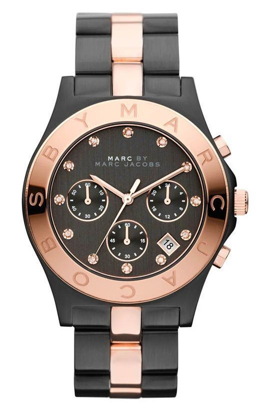 Marc by Marc Jacobs Chronograph Two Tone Black Rose Gold Womens Watch MBM3180