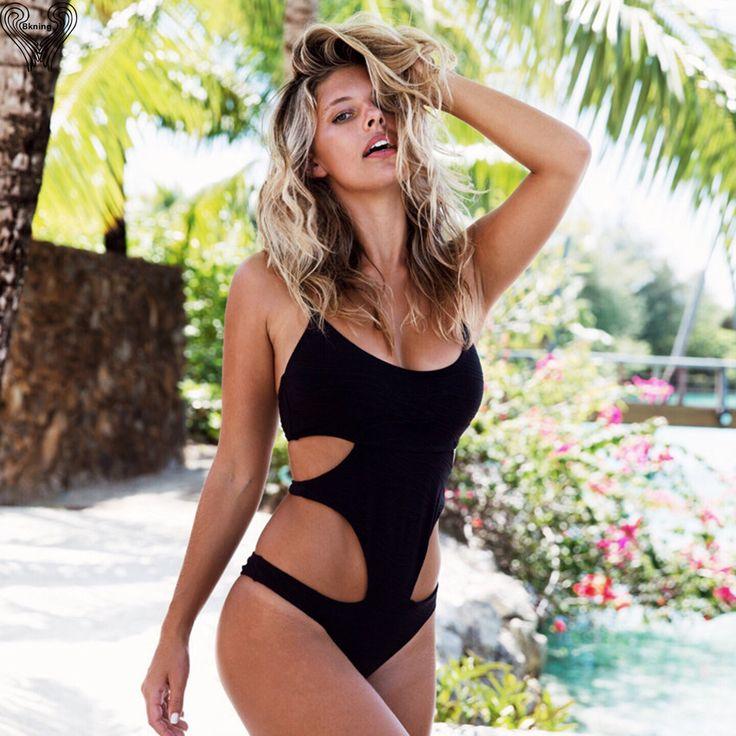 Sexy One Piece Swimsuit Women 2017 Bandage Monokini Cut Out Halter Bathing  Suits High Cut Bodysuit Brazilian Bikinis Swimwear