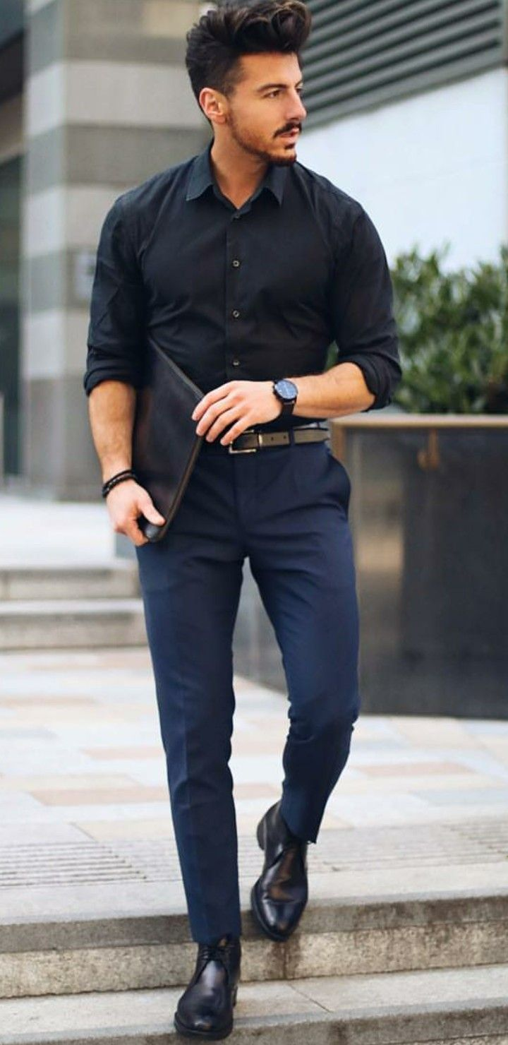 Nothing But Style Mens Outfits Black Shirt Outfit Men Mens Fashion Smart [ 1480 x 720 Pixel ]