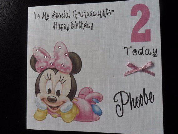 Handmade Personalised Girls Disney Baby Minnie Mouse Birthday Card 1st Birthday Card First Bir Crafty Business Cards First Birthday Cards Minnie Mouse Birthday