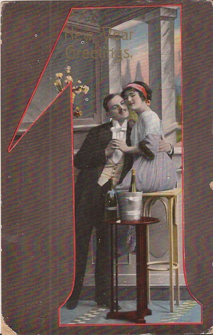 Vintage Postcard New Year S Day Romance Campaign 1915 Vintage Postcard Postcard Vintage Postcards