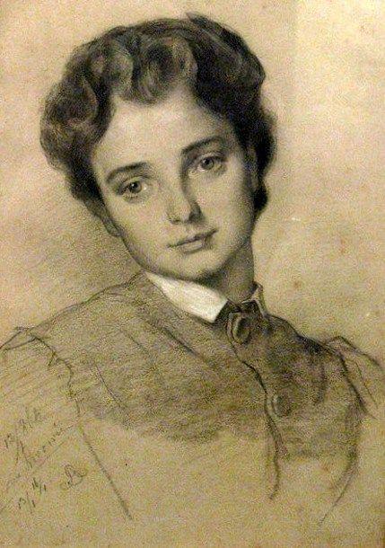 Young Girl-Artur Grottger (1837 – 1867, Polish)