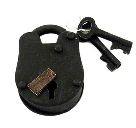Iron padlock with skeleton keys make a great accessory for any project. These are just like the old fashion, heavy metal lock and key sets. These padlocks are made of real metal and have working keys. Strong construction, old world look and feel, and are really cool! Have a liquor cabinet or old gun safe …