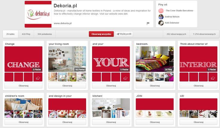 Dekoria.pl na Pintereście - fajnie to wygląda jak się wchodzi :) http://www.pinterest.com/dekoria/