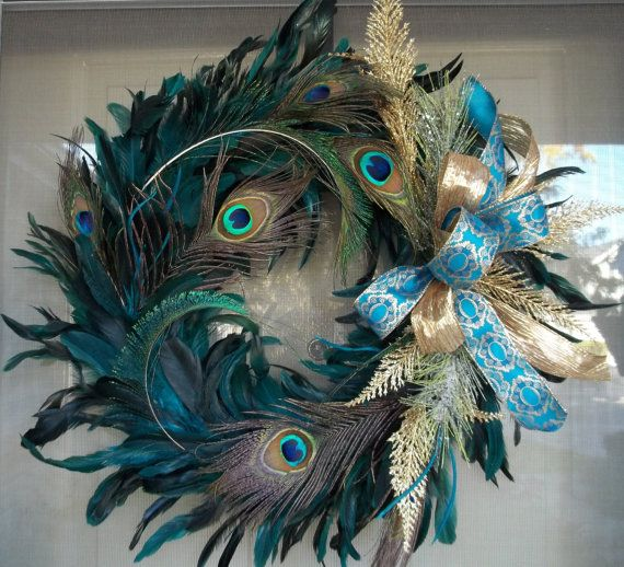What a GORGEOUS wreath!!!!!    Gold and Peacock wreath. $55.00, via Etsy.