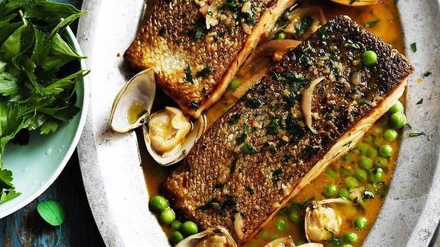Pan-fried salmon with clam sauce
