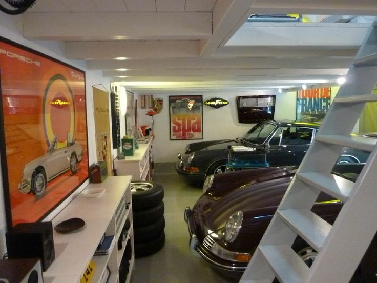 Porsche man garage man cave cars pinterest for 2 car garage man cave