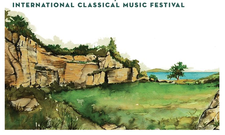 Watercolour sketch from the 2013 Gumusluk Classical Music Festival Brochure.
