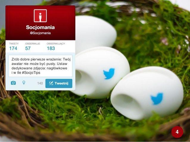 50 Twitter Tips (4). Cała prezentacja: http://www.slideshare.net/Socjomania/50-porad-jak-dziaac-na-twitterze  #Twitter #TwitterTips #SocialMedia #SocialMediaTips