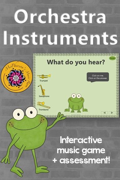 Aurally identifying orchestra instruments with your elementary music class is fun with this interactive music game! Get ready for the giggles!! Excellent Orff and Kodaly resource! Works great on Smartboard too!