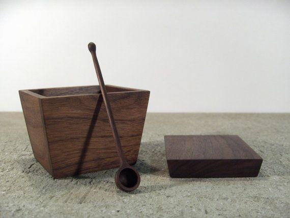 wooden sugar bowl  solid walnut sugar container by offcutstudio